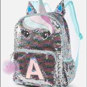 Justice Pastel sequin unicorn backpack initial A